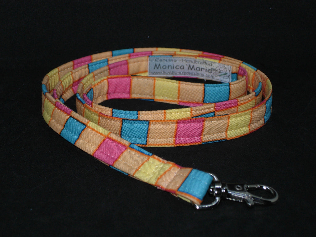 Peachy Lanyard / Colorful Checks / Cell Phone Wristlet / Spring Key Chain / Trendy Lanyard / Blue Checks Key Fob / Yellow & Orange Checks Lanyard