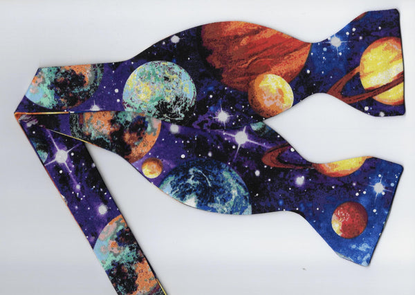 Outer Space Bow Tie & Cummerbund Set / Colorful Planets & Stars in Space / Self-tie or Pre-tied Bow tie - Bow Tie Expressions