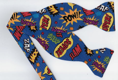 Comic Con Bow tie / Comic Book Action Words on Blue / Self-tie & Pre-tied Bow tie - Bow Tie Expressions