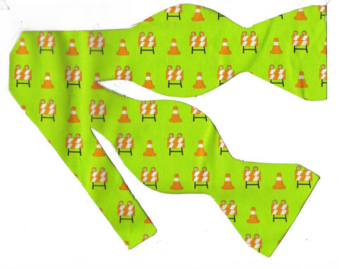 Construction Bow tie / Orange Cones & Barriers on Neon Green / Self-tie & Pre-tied Bow tie - Bow Tie Expressions