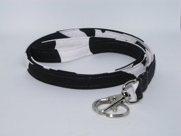 Cow Print Lanyard / Black Cow Spot on White / Cow Appreciation Day / Key Chain, Key Fob, Cell Phone Wristlet - Bow Tie Expressions