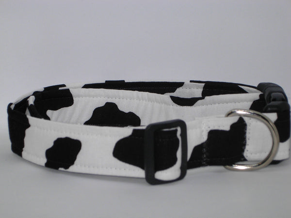 Cow Print Dog Collar / Black Cow Spots on White / Farm Dog Collar / Matching Dog Bow tie
