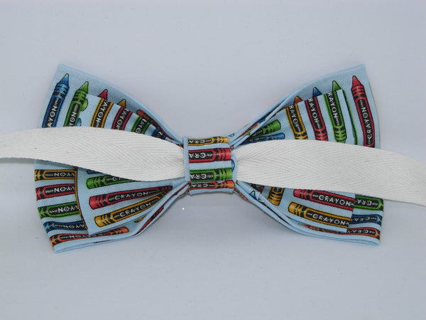 Art Teacher Bow tie / Coloring Crayons on Light Blue / School Bow tie / Self-tie & Pre-tied Bow tie - Bow Tie Expressions