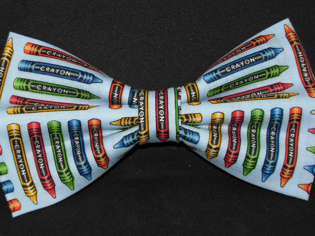 Art Teacher Bow tie / Coloring Crayons on Light Blue / School Bow tie / Pre-tied Bow tie - Bow Tie Expressions