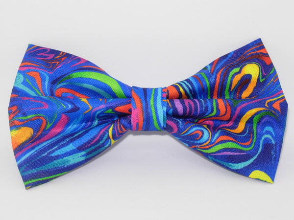 Funky Bow Tie / Trendy Colorful Swirls on Blue / Pre-tied Bow tie - Bow Tie Expressions