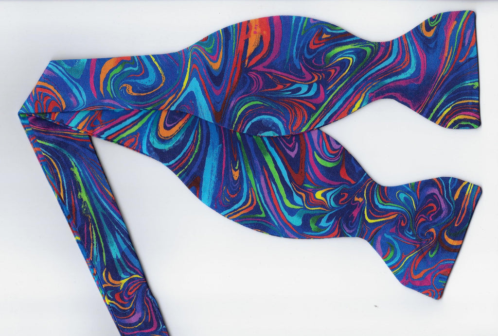 Funky Bow Tie / Trendy Colorful Swirls on Blue / Self-tie & Pre-tied Bow tie - Bow Tie Expressions