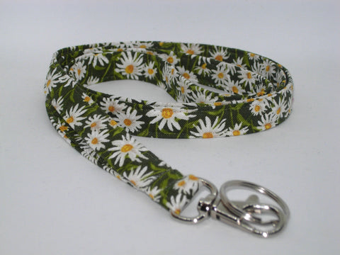 Daisy Lanyard / White Daisies on Dark Green / Daisy Key Chain, Key Fob, Cell Phone Wristlet - Bow Tie Expressions