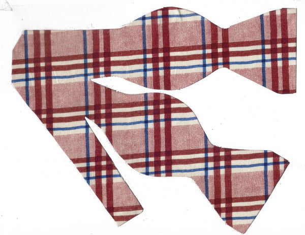 BOLD BURGUNDY PLAID BOW TIE - BURGUNDY RED WITH BLUE HIGHLIGHTS - Bow Tie Expressions  - 1