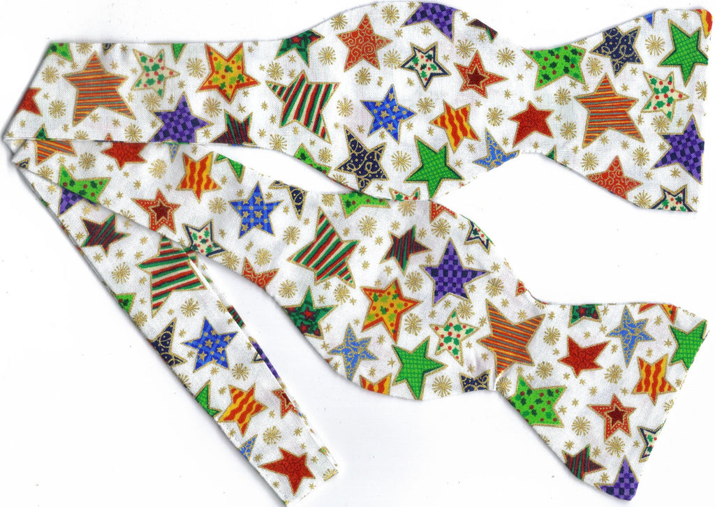 DECORATED CHRISTMAS STARS BOW TIE - COLORFUL STARS TRIMMED IN METALLIC GOLD - Bow Tie Expressions