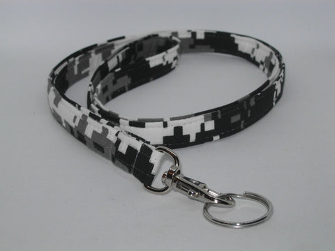 Digital Camo Lanyard / Urban Gray, Black & White Camo / Military Key Chain, Key Fob, Cell Phone Wristlet - Bow Tie Expressions