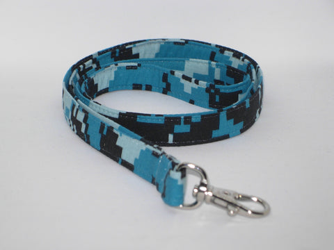 Digital Camo Lanyard / Black, Gray & Shades of Blue Camo / Military Key Chain, Key Fob, Cell Phone Wristlet - Bow Tie Expressions