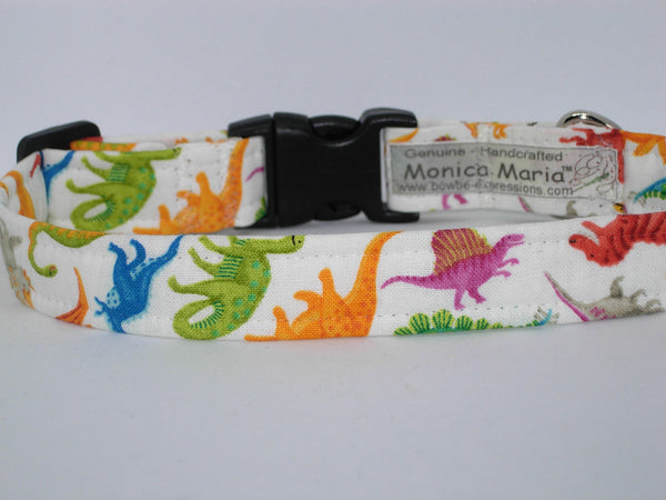 Dino Dog Collar / Colorful Toy Dinosaurs on White / Matching Dog Bow tie - Bow Tie Expressions