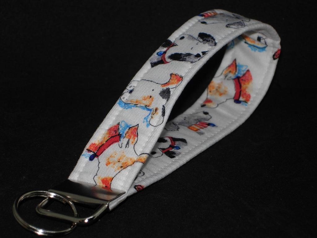 Puppy Dog Key Fob / Cute Dogs on White / Veterinarian Lanyard, Key Chain, Cell Phone Wristlet - Bow Tie Expressions