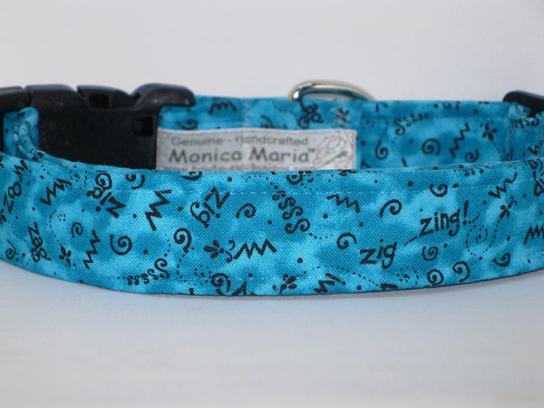 Blue Doodle Dog Collar / Squiggles on Turquoise Blue / Matching Dog Bow tie
