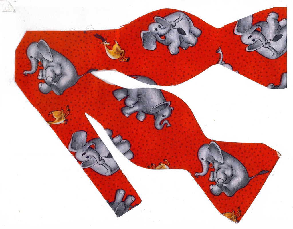 HAPPY ELEPHANTS ON RED BOW TIE - READY TO PLAY! - Bow Tie Expressions