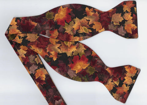 Fall Leaves Bow tie / Orange, Brown & Tan Autumn Leaves / Self-tie & Pre-tied Bow tie - Bow Tie Expressions