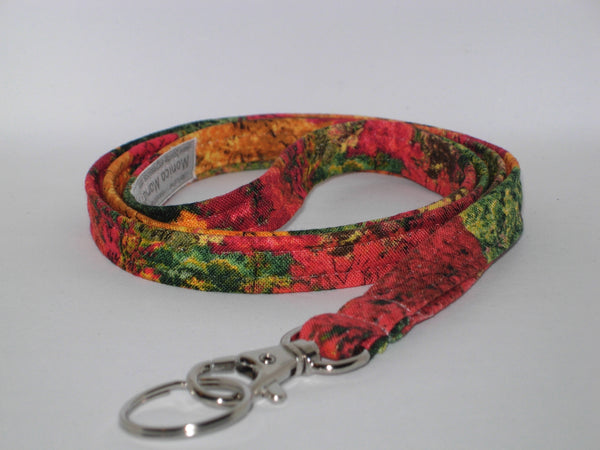 Autumn Lanyar / Orange & Red Fall Foliage / Fall Colors Lanyard / Cell Phone Wristlet / Key Chain / Back to School Teacher Lanyard / Fall Key Fob