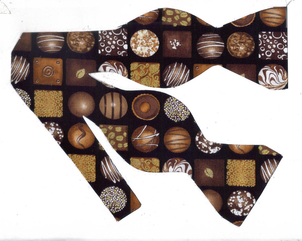 DECORATED CHOCOLATE CANDY BOW TIE - WITH METALLIC GOLD HIGHLIGHTS - Bow Tie Expressions