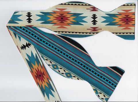 Fire & Water Self-tie Bow tie - Southwest Native American Blanket Design