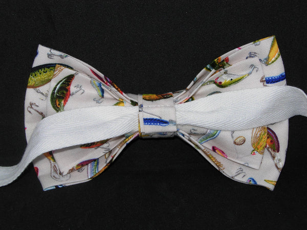 Fishing Bow tie / Colorful Fishing Lures on White / Pre-tied Bow tie - Bow Tie Expressions