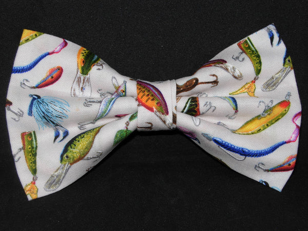 Fishing Bow tie / Colorful Fishing Lures on White / Self-tie & Pre-tied Bow tie - Bow Tie Expressions