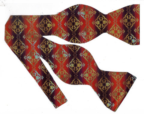 FLORAGRAPHIX BOW TIE - GOLD DIAMOND ROWS ON MAHOGANY & BROWN STRIPES - Bow Tie Expressions