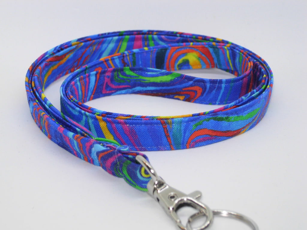 Funky Lanyard / Abstract Swirls on Blue / Retro 60's 70's Key Chain, Key Fob, Cell Phone Wristlet - Bow Tie Expressions