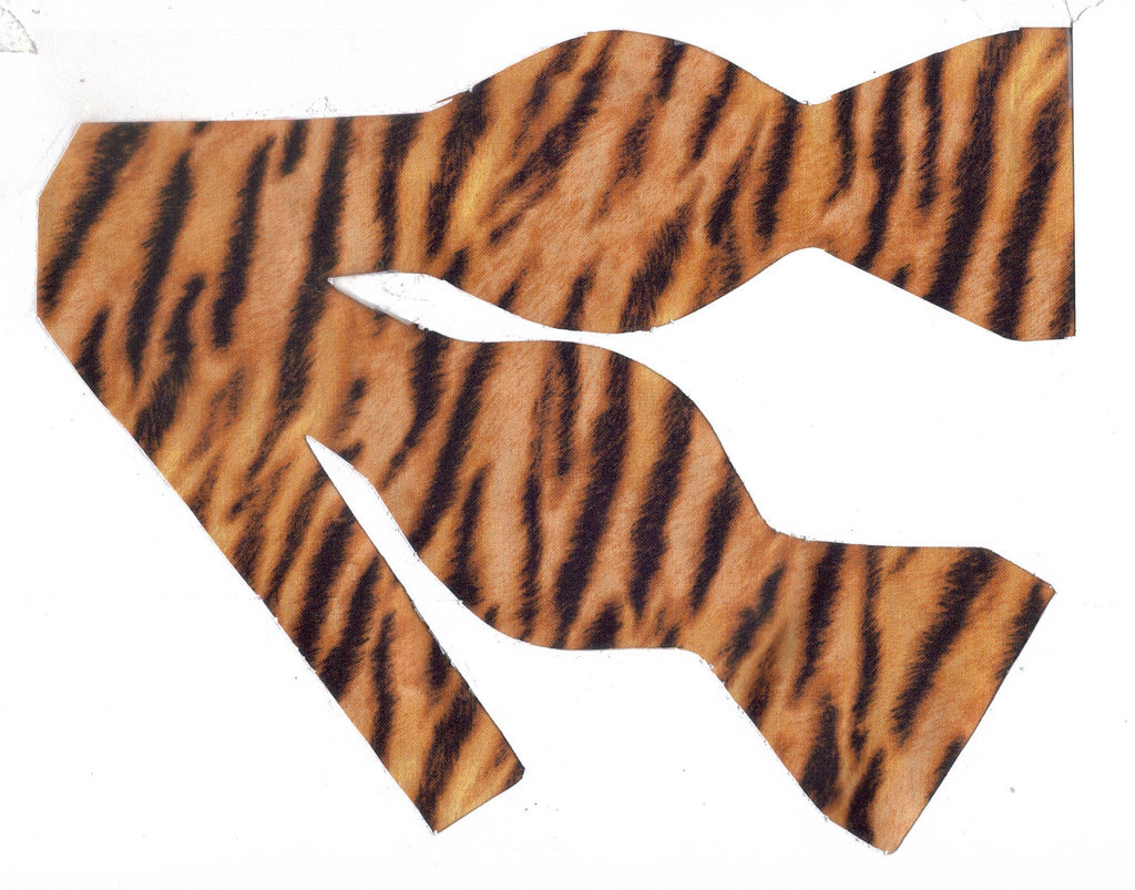 Tiger Print Bow Tie / Furry-looking Black Tiger Stripes on Gold / Self-tie & Pre-tied Bow tie - Bow Tie Expressions