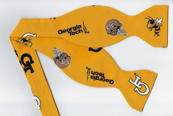 "Georgia Tech Bow tie (Icons on Gold) ""Buzz"" Yellow Jackets / Self-tie & Pre-tied Bow tie - Bow Tie Expressions"