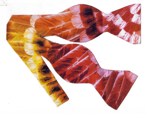 GERONIMO FEATHERS BOW TIE - DEEP RED, ORANGE AND YELLOW FEATHERS - Bow Tie Expressions