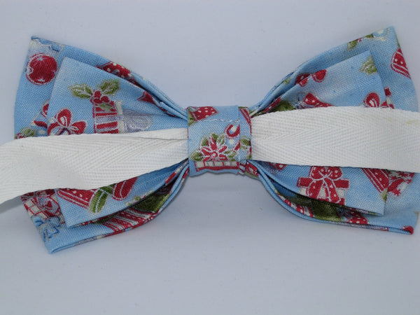 Christmas Bow tie / Red & Green Christmas Gifts on Light Blue / Pre-tied Bow tie