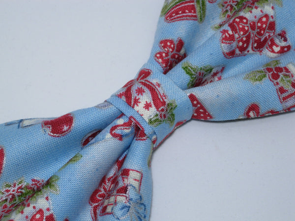 Christmas Bow tie / Red & Green Christmas Gifts on Light Blue / Pre-tied Bow tie - Bow Tie Expressions