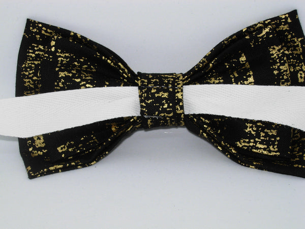 Metallic Gold & Black Bow Tie & Suspender Set - Black Suspenders - Mens MED/LG/XL, Boys SMALL - Bow Tie Expressions