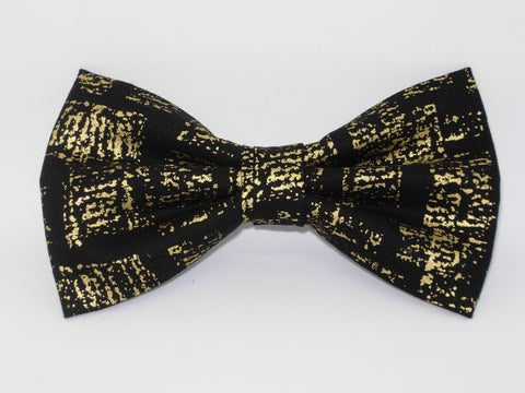 Gold & Black Bow tie / Abstract Metallic Gold on Black / Pre-tied Bow tie - Bow Tie Expressions