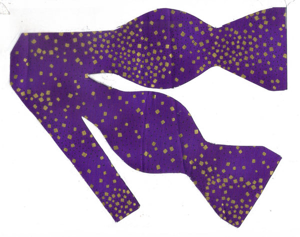 Party Bow tie - Metallic Gold Confetti on Puple | Self-tie & Pre-tied - Bow Tie Expressions