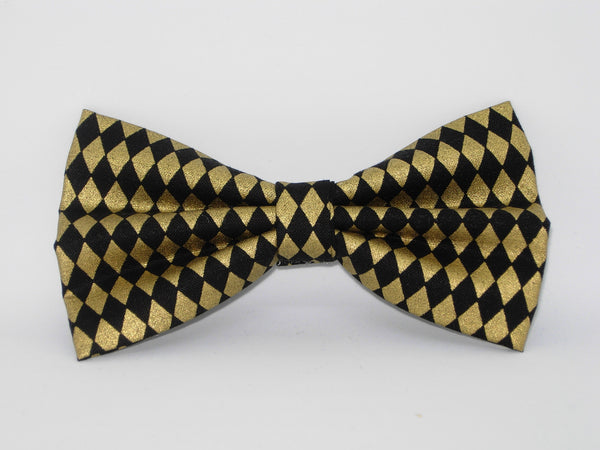 Black & Gold Bow tie / Metallic Gold Diamonds on Black / Self-tie & Pre-tied Bow tie - Bow Tie Expressions