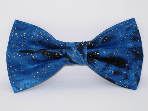 Galaxy Blue & Gold Bow tie / Metallic Gold Flakes / Swirling Midnight Blue / Pre-tied Bow tie