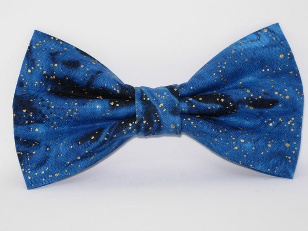 Galaxy Blue & Gold Bow tie / Metallic Gold Flakes / Swirling Midnight Blue / Pre-tied Bow tie - Bow Tie Expressions