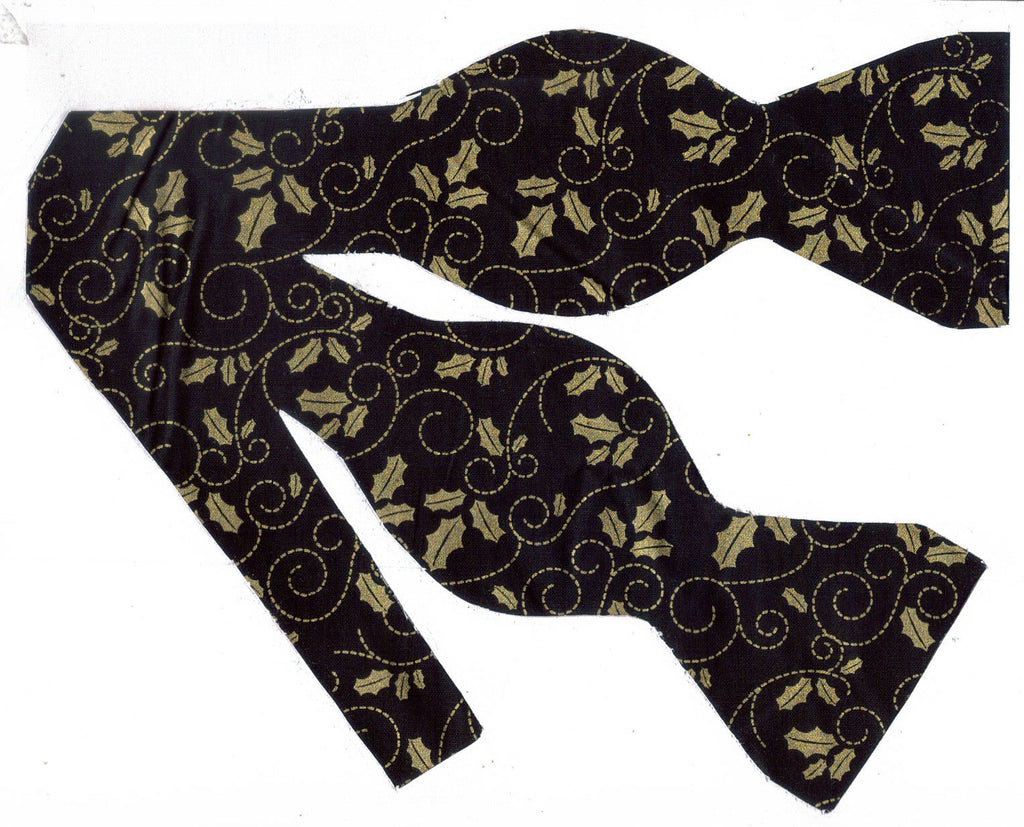 METALLIC GOLD HOLLY LEAVES & SCROLLS ON BLACK BOW TIE - Bow Tie Expressions