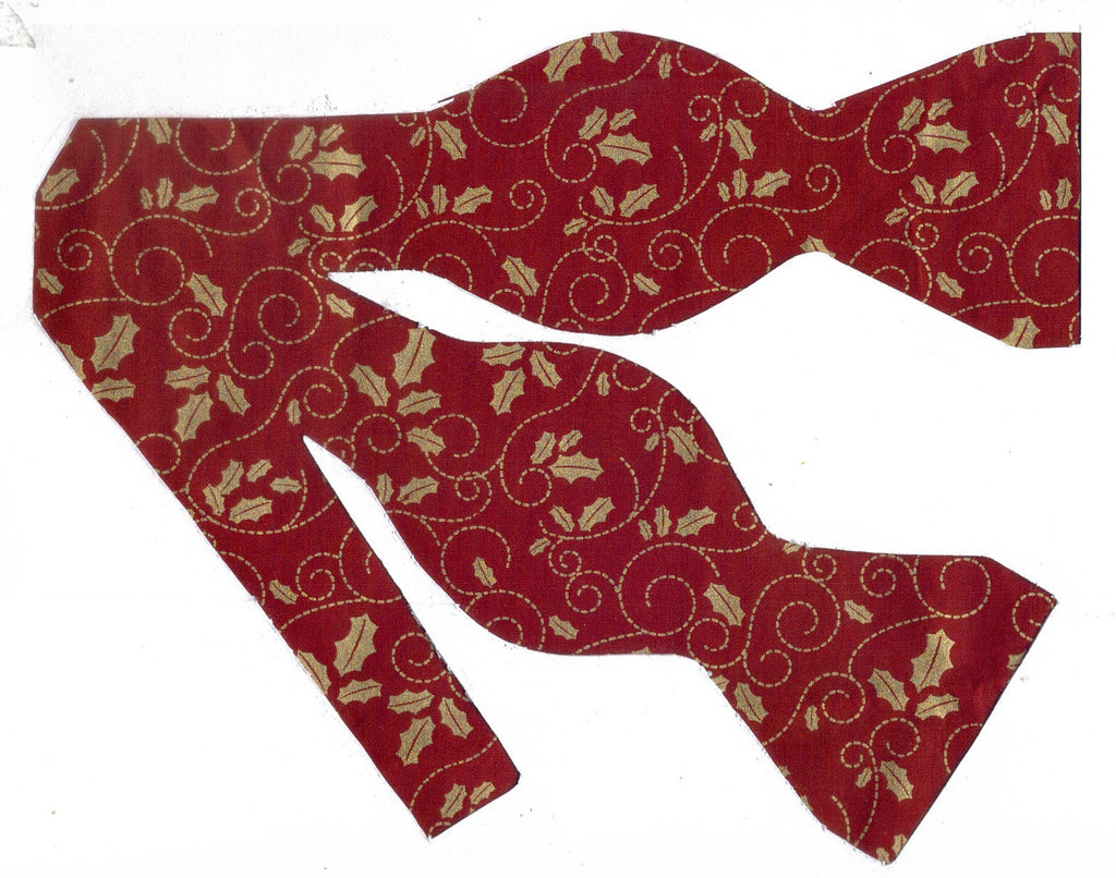 METALLIC GOLD HOLLY LEAVES & SCROLLS ON DARK HOLIDAY RED BOW TIE - Bow Tie Expressions