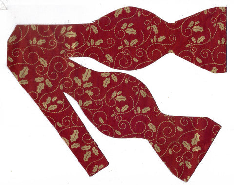 Christmas Bow tie / Metallic Gold Holly & Scrolls on Dark Red / Self-tie & Pre-tied Bow tie - Bow Tie Expressions