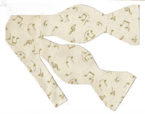 Music Bow Tie / Metallic Gold Musical Notes on Ivory / Self-tie & Pre-tied Bow tie - Bow Tie Expressions