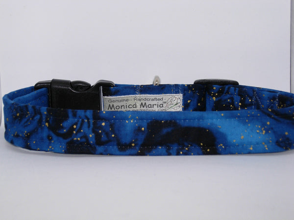 Blue & Gold Dog Collar / Metallic Gold Flakes on Midnight Blue / Matching Dog Bow tie