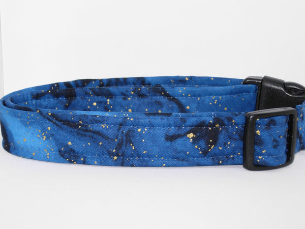 Blue & Gold Dog Collar / Metallic Gold Flakes on Midnight Blue / Matching Dog Bow tie - Bow Tie Expressions