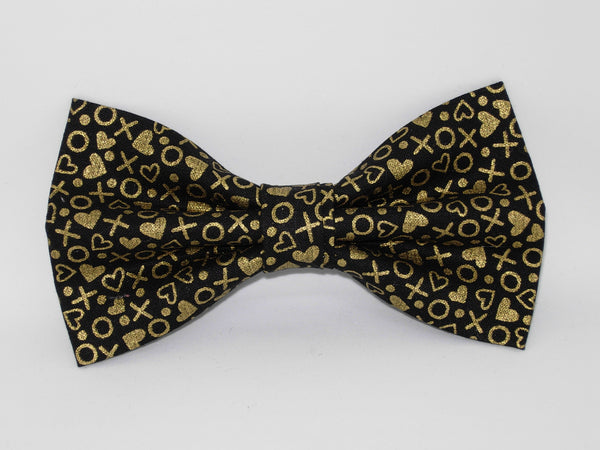 Metallic Gold Valentine's Day Bow tie - Gold Hearts, X's & O's on Black