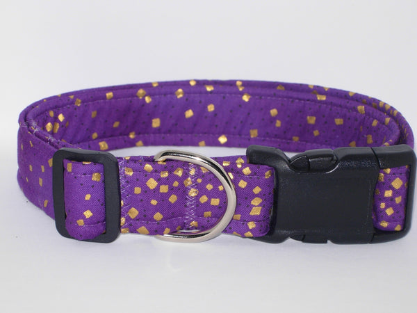 Purple & Gold Dog Collar / Metallic Gold Confetti on Purple / Matching Dog Bow tie