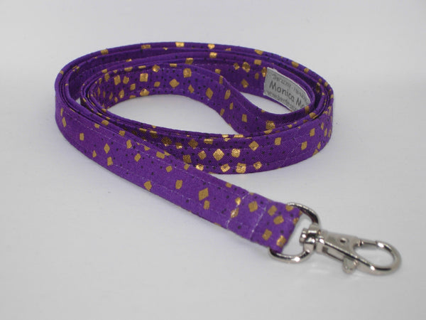 Purple & Gold Lanyard / Metallic Gold Confetti on Purple / Cell Phone Wristlet / Mardi Gras Key Chain / Trendy Lanyard / Purple Gold Key Fob