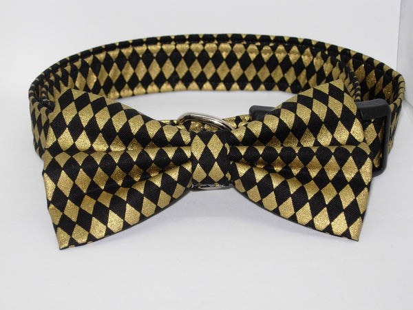 Gold & Black Dog Collar / Metallic Gold Diamond Shapes on Black / Matching Dog Bow tie - Bow Tie Expressions