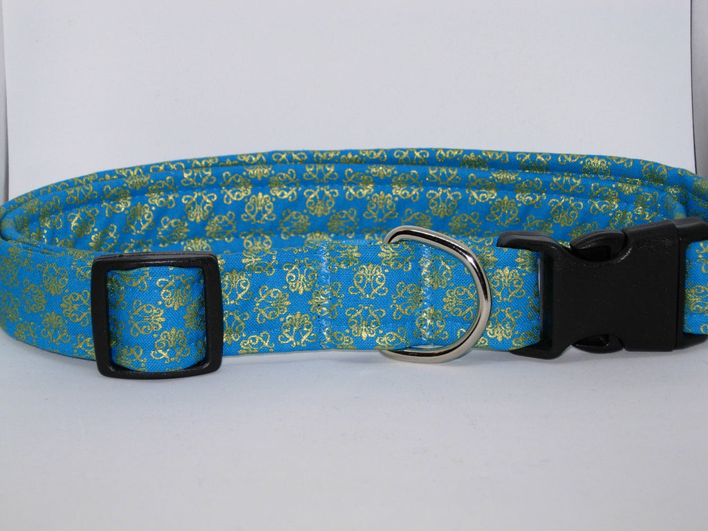 Gold & Teal Blue Dog Collar / Metallic Gold Filigree on Blue / Matching Dog Bow tie - Bow Tie Expressions