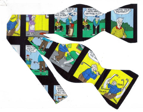 """PICKLES"" PLAYING GOLF BOW TIE - BRIAN CRANE'S COMIC STRIP BLOCKS ON BLACK - Bow Tie Expressions"